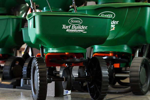Scotts Turf Builder fertilizer,lawn seed, spreaders, weed and pest control, rakes, shovels, pruners, hoses, lawn sprinklers, flower seeds